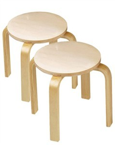 Anatex Set of 2 Wooden Stools by