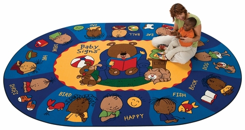 Sign, Say & Play Factory Second Preschool Rug 5'5 x 7'8 Oval