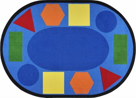 Sitting Shapes Classroom Carpet 5'4 x 7'8 Oval