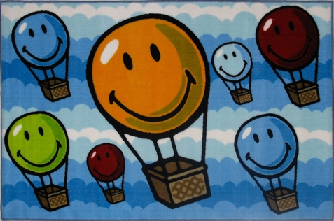 Smiley World Hot Air Balloon Rug
