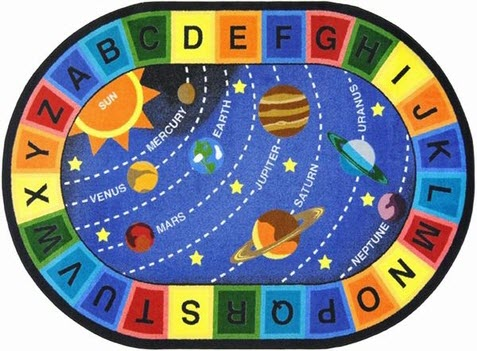 Space Alphabet Area Rug 7'8 x 10'9 Oval