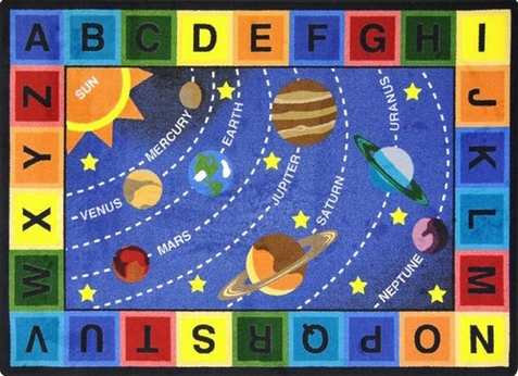 Space Alphabet Area Rug 7'8 x 10'9 Rectangle