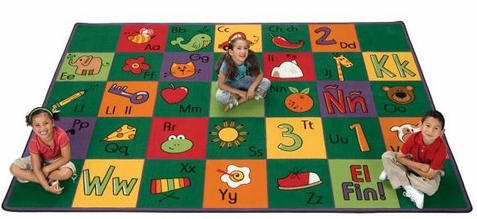 Spanish Alphabet Blocks Classroom Rug - 3'10 x 5'5