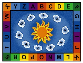 Sunny Day Learn and Play Rectangle Classroom Rug 4'5 x 5'10