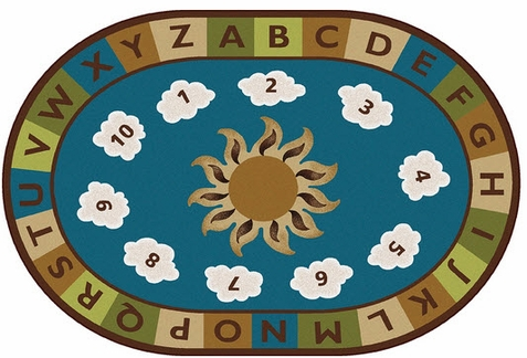 Sunny Day Learn & Play Nature Rug 4' x 6' Oval