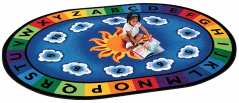 Sunny Day Oval Educational Rug 4'5 x 5'10