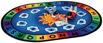Sunny Day Oval Educational Rug 6'9 x 9'5