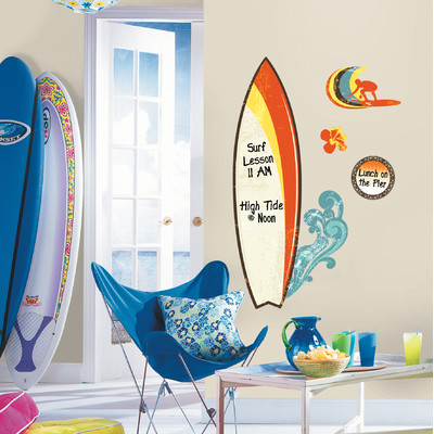 Surfs Up Dry Erase Peel & Stick Giant Wall Decals - Free Shipping