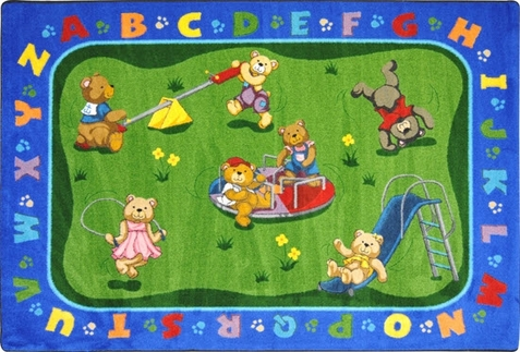 Teddy Bear Alphabet Preschool Rug 10'9 x 13'2 Rectangle