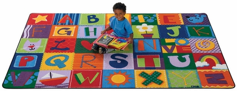 Toddler Alphabet Blocks Preschool Factory Second Rug 4' x 6'