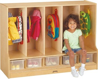 Jonti-Craft Toddler Coat Locker with Step by