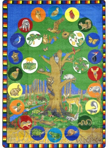 Tree of Life Educational Carpet 7'8 x 10'9