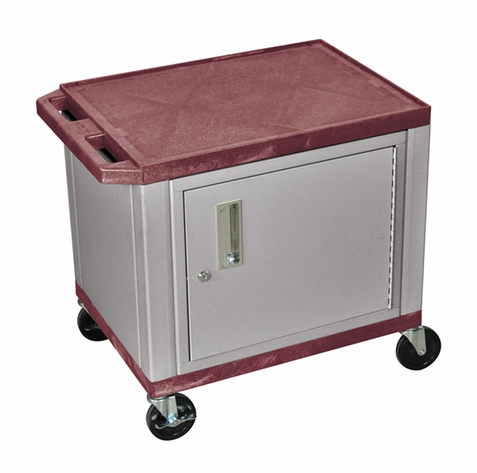 Tuffy Burgundy Utility Cart with Cabinet