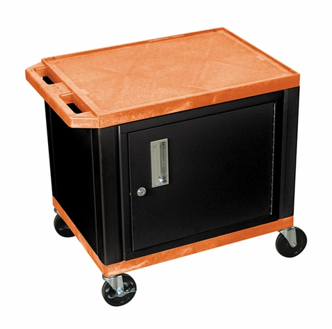 Tuffy Orange Utility Cart with Cabinet