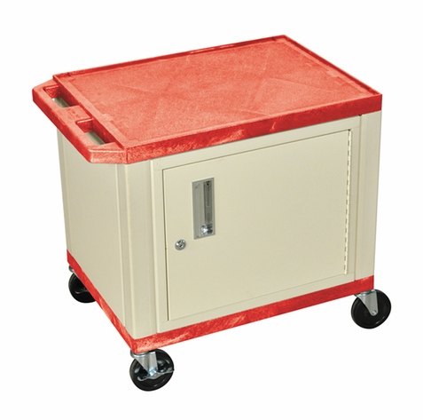 Tuffy Red Utility Cart with Cabinet