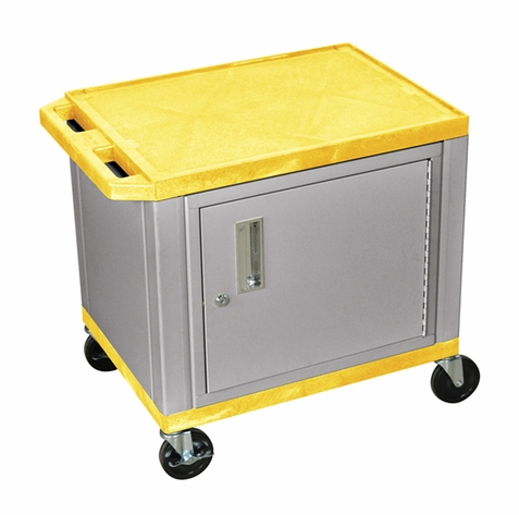 Tuffy Yellow Utility Cart with Cabinet