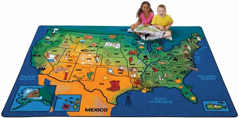 USA Learn & Play Factory Second Classroom Rug 5'5 x 7'8