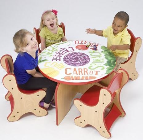 Veggie Table & 4 Red Chairs Set
