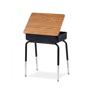 Virco Lift Lid Student Desk with Med Oak Laminate Top