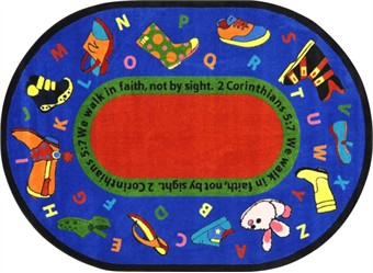 Walk in Faith Sunday School Rug 7'8 x 10'9 Oval