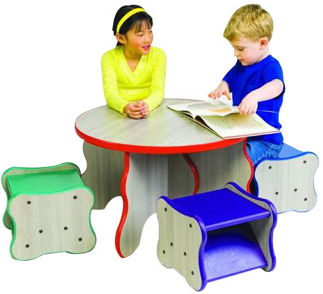 Wavy Legs Waiting Area Table & 4 Stool Set