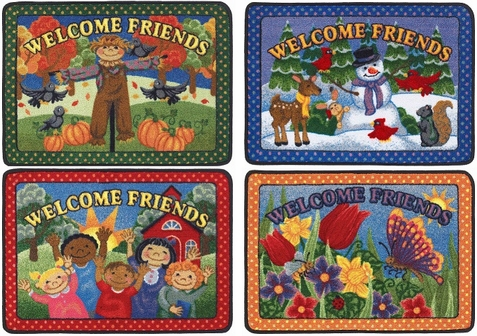 Welcome Friends Seasonal Doorway Mats - Set of 4