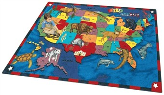 Wild America Educational Rug 5'4 x 7'8 Rectangle