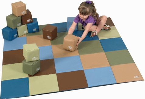Woodland Patchwork Crawly Mat w/ Soft Block Set