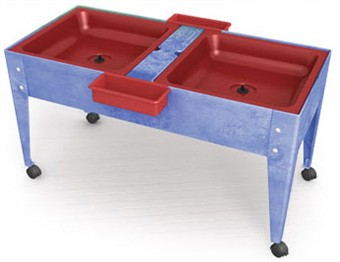 ChildBrite Youth Double Mite Sensory Table with Red Tubs
