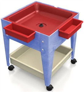 ChildBrite Youth Mite Sensory Table w/ Red Tub, Mega Tray & Casters