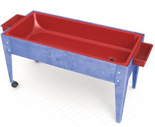 ChildBrite Youth Sand and Water Table w/ Red Liner & 2 Locking Casters