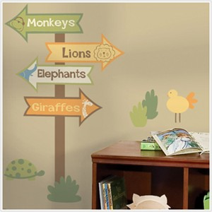RoomMates Zoo Signs Giant Wall Decal