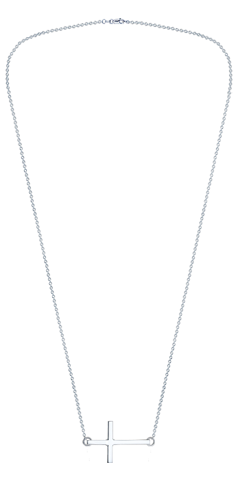 Kay Wicks - 1 inch, 14k White Gold Sideways Cross Necklace