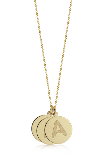 1/2 inch, 14k Gold Mini 3 Etched Initial Disc Pendant Necklace (Engravable)