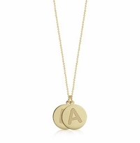1/2 inch, 14k Gold 2 Initial Disc Charm Necklace