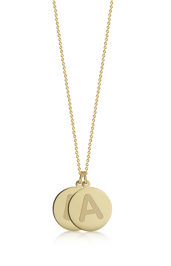 1/2 inch, 14k Gold Double Mini Etched Initial Disc Pendant Necklace (Engravable)