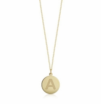 1/2 inch, 14k Gold Initial Disc Charm Necklace