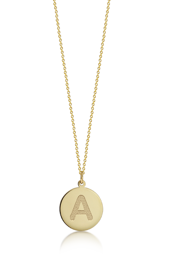 1/2 inch, 14k Gold Mini Etched Initial Disc Pendant Necklace (Engravable)