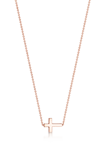 Kay Wicks - 1/2 inch Solid 14k Rose Gold Sideways Cross Necklace