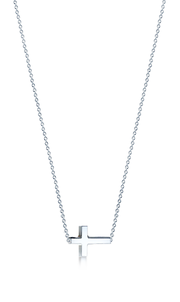 1/2 inch, Petite 14k White Gold Sideways Cross Necklace