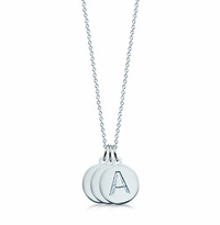 1/2 inch, Sterling Silver 3 Mini Initial Disc Necklace (Engravable)