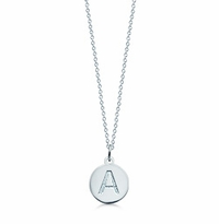 1/2 inch, Sterling Silver Mini Initial Disc Necklace (Engravable)