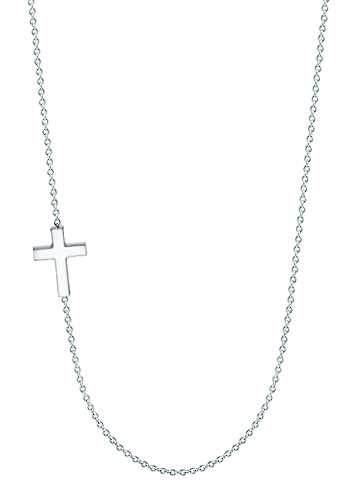 "1/2"" Petite Off-Center 14k White Gold Sideways Cross Necklace"