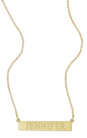 1.25 inch, 14k Gold Personalized Nameplate Bar Necklace