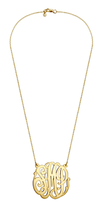 1.25 inch, Medium 14k Gold Vermeil Script Monogram Initial Necklace