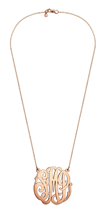 1.25 inch Solid 14k Rose Gold 3 Initial Lace Monogram Necklace