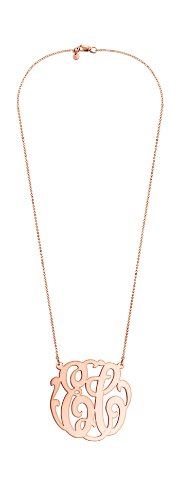 1.75 inch 14k Rose Gold Vermeil Two Initial Lace Monogram Necklace