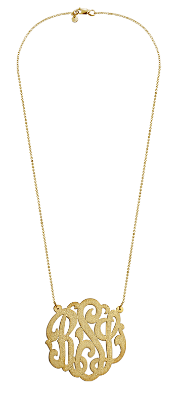 1.75 inch Large 14k Gold Vermeil Brush Finish Script Initial Lace Monogram Necklace