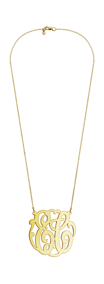 1.75 inch, Large 14k Gold Vermeil Two Initial Script Monogram Necklace