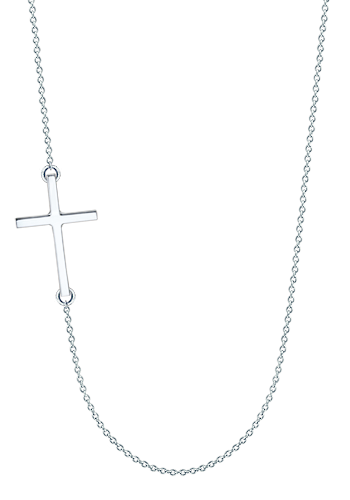 Kay Wicks - 1 inch, 14k White Gold Off-Center Sideways Cross Necklace